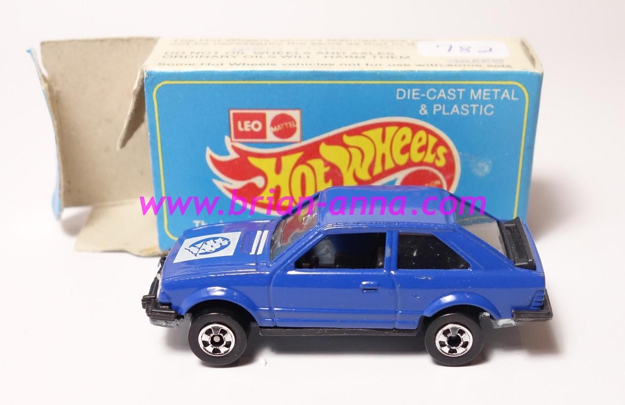 Hot Wheels Leo India Mattel Ford Escort Dark Blue W White Sailing