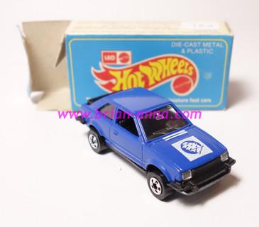 Hot Wheels Leo India Mattel Ford Escort, Dark Blue w/White Sailing Ship tampo