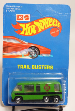 Hot Wheels Leo India Mattel Bright Green GMC Motor Home, Dark Red Cross tampo artwork, blisterpack