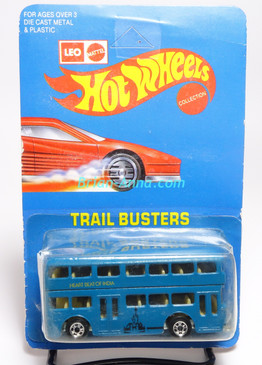 Hot Wheels Leo India Mattel Double Decker Bus, Blue w/Heart Beat of India tampo, blisterpack