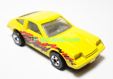 Hot Wheels Leo India Mattel Chevy Monza, Bright Yellow, tampo on side, blackwall wheels, loose