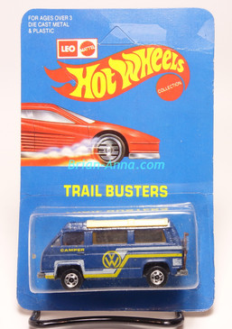 Hot Wheels Leo India Mattel VW Sunagon, Deep Blue enamel, White/Yellow tampo on side, BW wheels, unpunched blisterpack
