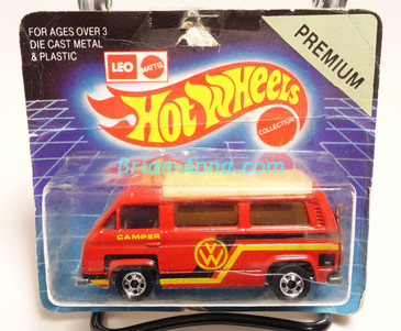 Hot Wheels Leo India Mattel VW Sunagon, Red enamel, Black/Yellow-gold tampo on side, BW wheels, blisterpack