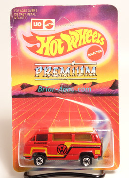 Hot Wheels Leo India Mattel VW Sunagon, Red enamel, Black/Yellw-gold tampo on side, BW wheels, blisterpack