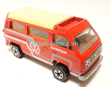 Hot Wheels Leo India Mattel VW Sunagon, Red enamel, White/Gray tampo on side, BW wheels, loose
