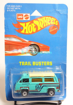 Hot Wheels Leo India Mattel VW Sunagon, Aqua, Red/Dark Blue tampo on side, BW wheels, blisterpack