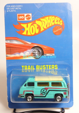 Hot Wheels Leo India Mattel VW Sunagon, Aqua, Red/Black tampo on side, BW wheels, unpunched blisterpack