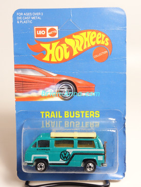 Hot Wheels Leo India Mattel VW Sunagon, Teal, White/Black tampo on side, BW wheels, unpunched blisterpack