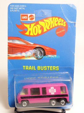 Hot Wheels Leo India Mattel GMC Motorhome, Pink, White cross tampo on side, BW wheels, unpunched blisterpack