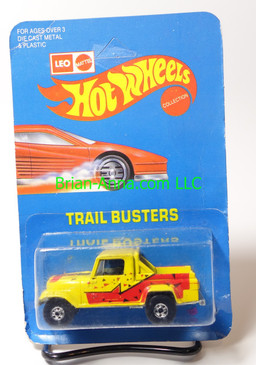 Hot Wheels Leo India Mattel Jeep Scrambler, Bright Yellow, Red/Black tampo on side, BW wheels, unpunched blisterpack