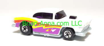 Hot Wheels '55 Chevy, Bright White, bw wheels, Malaysia, loose