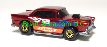 Hot Wheels '55 Chevy, Dark Metalflake Red, hogd wheels, Malaysia, loose