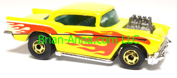 Hot Wheels '57 Chevy, Exposed Engine, Yellow w/flames, hogd wheels, Malaysia, loose
