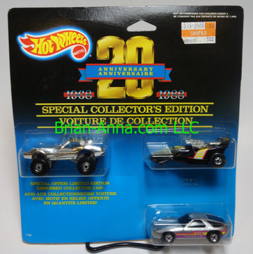 Hot Wheels 20th Anniversary 3-car set w/rare Porsche 928 with Blackwalls (ms3-1428)