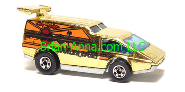 Hot Wheels Spoiler Sport, Gold Chrome, bw wheels, Hong Kong base, loose