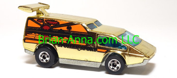 Hot Wheels Spoiler Sport, Gold Chrome, Blackwall wheels, loose