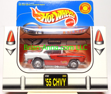 Hot Wheels '55 Chevy, White over Red, Real Riders, Limited Edition, box