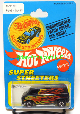 Hot Wheels Patch Card Super Van in Black, side flames, blackwall wheels