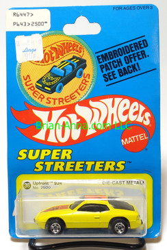 Hot Wheels Patch Card Upfront 924 Porsche in Yellow, blackwall wheels