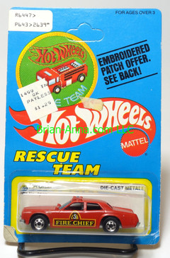 Hot Wheels Patch Card Fire Chaser,  blackwall wheels