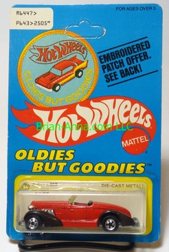 Hot Wheels Patch Card Auburn 852 in Red, blackwall wheels