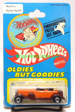 Hot Wheels Patch Card '31 Doozie, Orange, blackwall wheels
