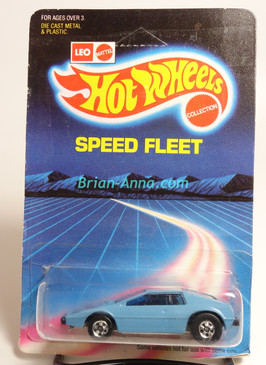 Hot Wheels Leo India Mattel Royal Flash in Pale Blue, tampo on hood, BW wheels, unpunched card