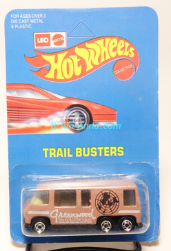 Hot Wheels Leo India Mattel GMC Motorhome, White Greenwood tampo, BW wheels, blisterpack