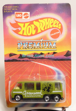 Hot Wheels Leo India Mattel GMC Motorhome in Green, White Greenwood tampo, BW wheels, blisterpack
