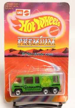 Hot Wheels Leo India Mattel GMC Motorhome in Green, Black Greenwood tampo, BW wheels, blisterpack