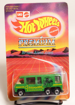 Hot Wheels Leo India Mattel GMC Motorhome in Green, Yellow Greenwood tampo, BW wheels, blisterpack