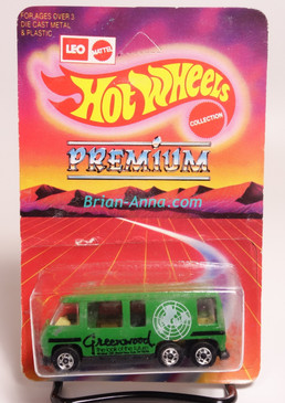 Hot Wheels Leo India Mattel GMC Motorhome in Green, Black Greenwood tampo, BW wheels, blisterpack