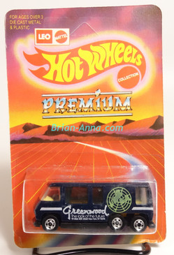 Hot Wheels Leo India Mattel GMC Motorhome in Black, White Greenwood tampo, BW wheels, blisterpack