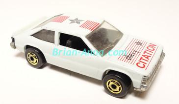 Hot Wheels Leo India Mattel Chevy Citation in White, hogd wheels, loose