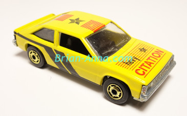 Hot Wheels Leo India Mattel Chevy Citation in Yellow, hogd wheels, loose