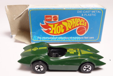 Hot Wheels Leo India Mattel Second Wind in Green, blackwall wheels, box