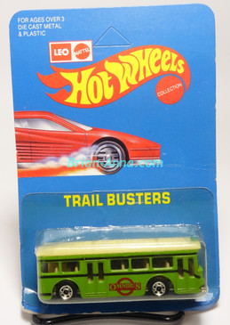 Hot Wheels Leo India Mattel Single Decker Bus, Green, blackwall wheels, blisterpack