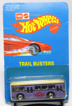 Hot Wheels Leo India Mattel Single Decker Bus, Purple, blackwall wheels, blisterpack