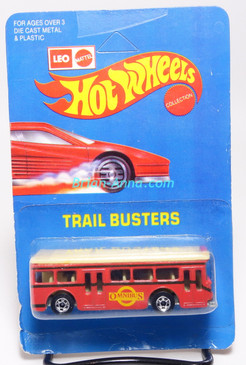 Hot Wheels Leo India Mattel Single Decker Bus, Red, blackwall wheels, blisterpack