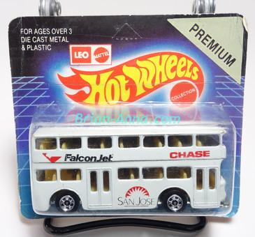 Hot Wheels Leo India Mattel Double Decker Bus, White, blackwall wheels, blisterpack