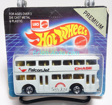 Hot Wheels Leo India Mattel Double Decker Bus, White, blackwall wheels, blisterpack