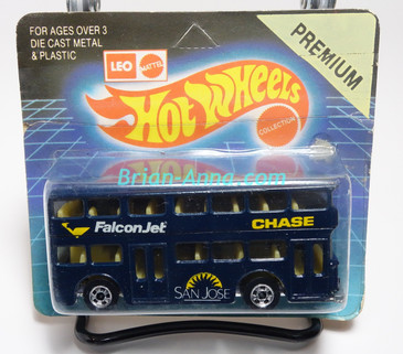Hot Wheels Leo India Mattel Double Decker Bus, Dark Blue, blackwall wheels, blisterpack