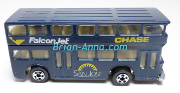 Hot Wheels Leo India Mattel Double Decker Bus, Dark Blue, blackwall wheels, loose