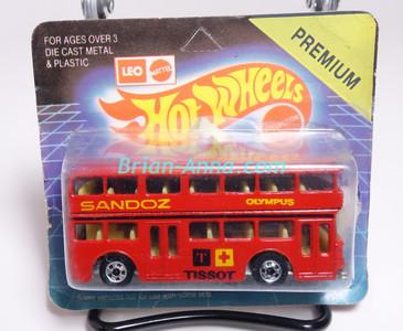 Hot Wheels Leo India Mattel Double Decker Bus, Red, blackwall wheels, blisterpack