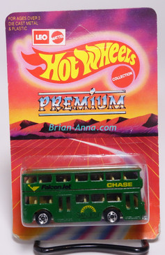 Hot Wheels Leo India Mattel Double Decker Bus, Green, blackwall wheels, blisterpack