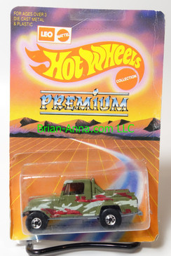 Hot Wheels Leo India Mattel Jeep Scrambler in Green, blackwall wheels, blisterpack