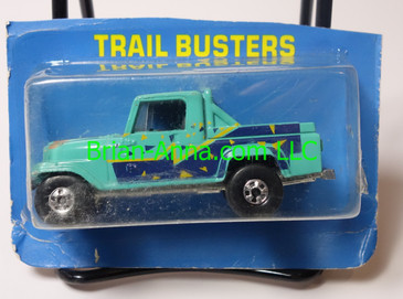 Hot Wheels Leo India Mattel Jeep Scrambler in Aqua, blackwall wheels, cut blisterpack