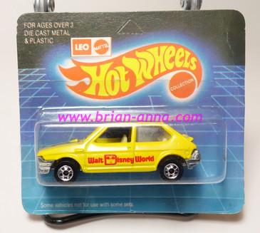 Hot Wheels Leo India Mattel Fiat in Yellow, blackwall wheels, blisterpack