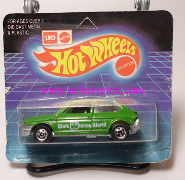Hot Wheels Leo India Mattel Fiat in Green, blackwall wheels, blisterpack