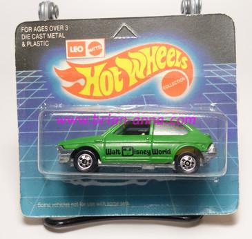 Hot Wheels Leo India Mattel Fiat in Green, blackwall wheels, blisterpack